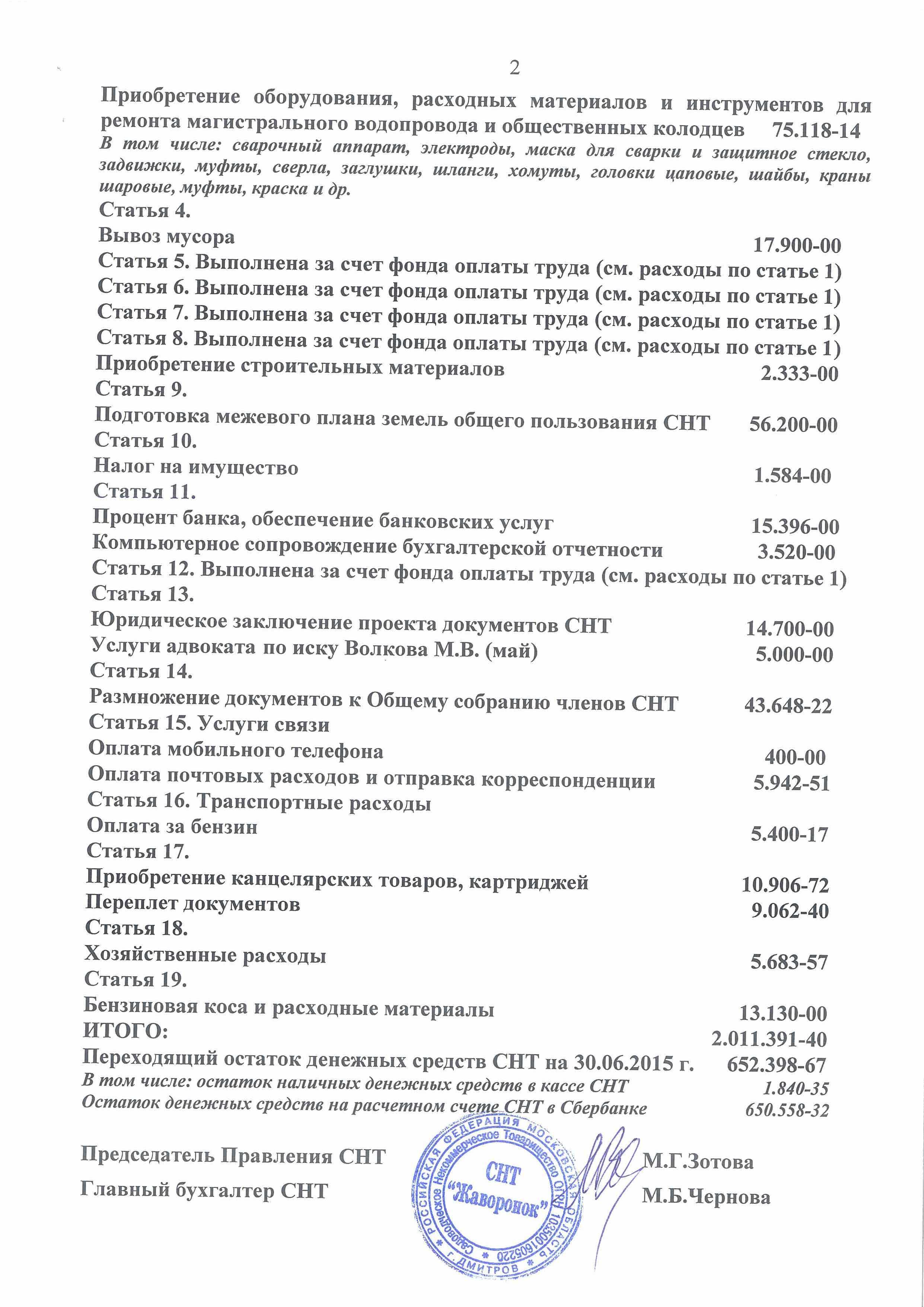 """Доходы СНТ """"Жаворонок"""" 01.01.2015-30.06.2015"""